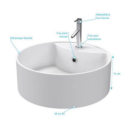 Vasque à poser ronde en céramique - diamètre 40cm - hauteur 14cm - ROLL ON