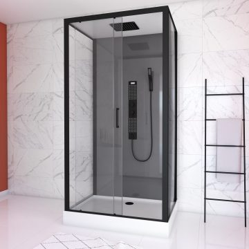CABINE DE DOUCHE RECTANGLE 80x110x217 - GREY TITANIUM
