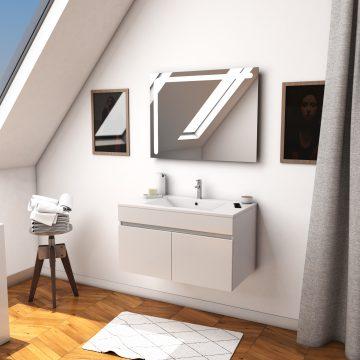 Ensemble Meuble de salle de bain blanc 80cm suspendu a portes + vasque ceramique blanche + miroir led integree - STARTED pack 20