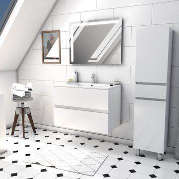 Ensemble Meuble de salle de bain blanc 80cm suspendu a 2 tiroirs + vasque ceramique blanche + miroir led integree + meuble colonne sur pied - STARTED pack 52