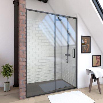 Paroi porte de douche à porte coulissante - 120x200cm - PORTE COULISSANTE - PROFILE NOIR MAT - verre transparent 6mm - CRUSH 120