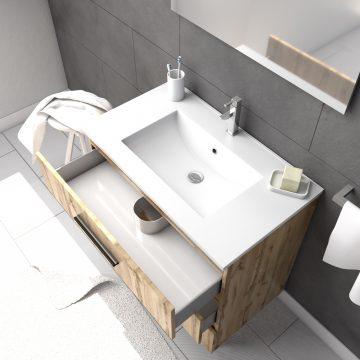 Ensemble meuble de salle de bain  80x81x50 cm effet chêne bois avec vasque résine blanche - 3 tiroirs avec poignées et pieds noir mat - miroir - Boxy Brown 80