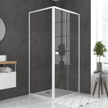 Pack porte de douche Coulissante blanc 100x185cm + retour 80 verre transparent 5mm - WHITY slide 100