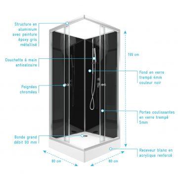Cabine de douche carrée 195x80x80 - Porte coulissante en verre trempé 5mm + receveur blanc
