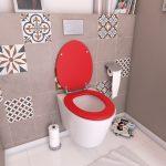 Abattant WC - en MDF avec charnières en métal réglables - WHISY RED