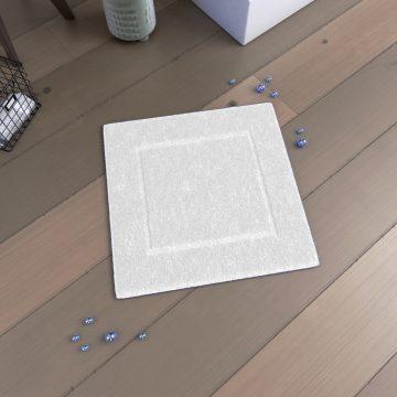 Tapis de bain 60x60 Antidérapant et 100% Coton - VELOUTE BLANC