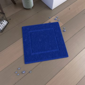 Tapis de bain 60x60 Antidérapant et 100% Coton - VELOUTE BLEU