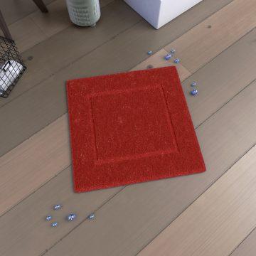 Tapis de bain 60x60 Antidérapant et 100% Coton - VELOUTE ROUGE