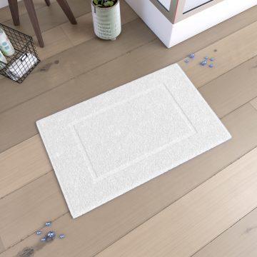 Tapis de bain  60x90cm Antidérapant et 100% Coton - VELOUTE BLANC