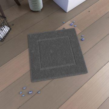 Tapis de bain 60x60 Antidérapant et 100% Coton - VELOUTE GRIS
