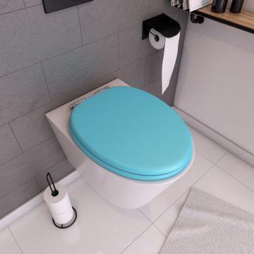 Abattant WC - MDF et Double frein de chute - SOFT BLUE