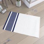 Tapis de bain  60x90cm 100% Coton - PATCHWORK BLANC