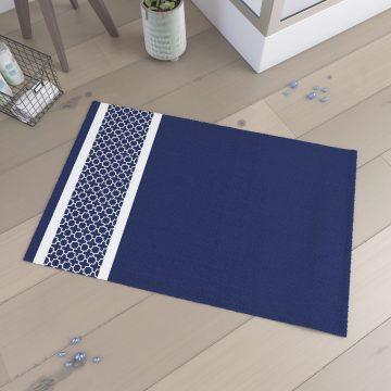 Tapis de bain 60x90cm 100% Coton - PATCHWORK BLEU