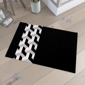 Tapis de bain 90x60cm  et 100% Coton - PYRAMIDE NOIR