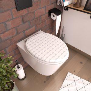 Abattant pour WC à motif - en MDF et charnières en métal double frein de chute - PYRAMID