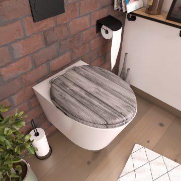 Abattant pour WC à motif sur 3 faces - en MDF et charnières en métal - PLANKS