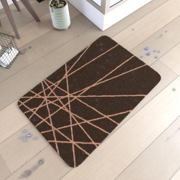 Tapis de bain 90x60cm Antidérapant et en Microfibre - ECOLIER MARRON