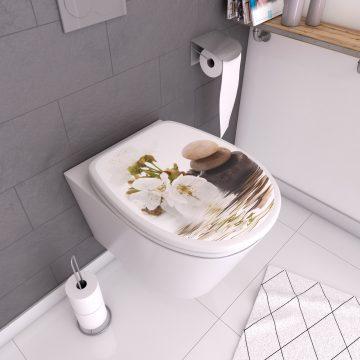 Abattant pour WC à motif - en MDF et charnières en plastique - CALMEX