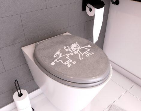 Abattant pour WC à motif - en MDF et charnières en métal - PTI'BOU