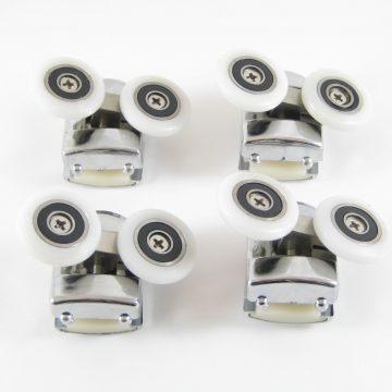 Roulette double avec corps en métal et chromé de diamètre 26mm (par lot de 4 roulettes).