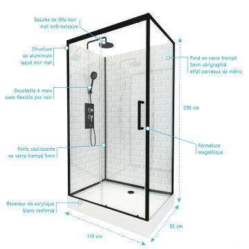 Cabine de douche rectangle 80x110x230cm à motif carreaux de métro - UNDERGROUND RECTANGLE 110