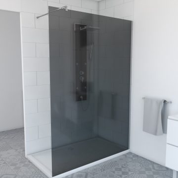 Paroi de douche a l'italienne 140x200cm verre fume 8mm avec bras de maintient en inox extensible