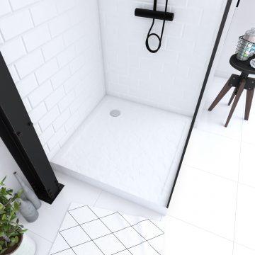 Receveur haut a poser 80X80cm - acrylique renforce blanc effet pierre - anti-derapant