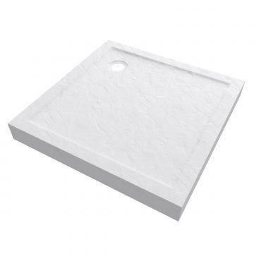 Receveur haut a poser 90X90cm - acrylique renforce blanc effet pierre - anti-derapant