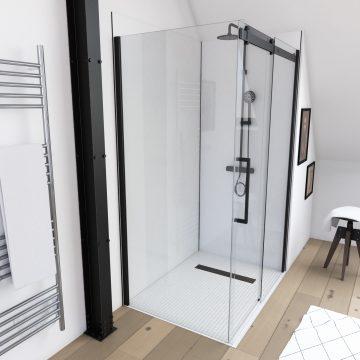 Paroi de retour pour Paroi porte de douche type industriel NOIR MAT - 80x200cm - verre trempe 8mm