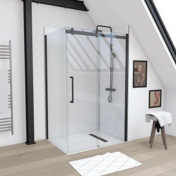 Paroi de retour pour Paroi porte de douche type industriel NOIR MAT - 90x200cm - verre trempe 8mm