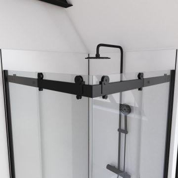 Paroi porte de douche type industriel ouverture d'angle profiles noir mat - verre trempe 8mm