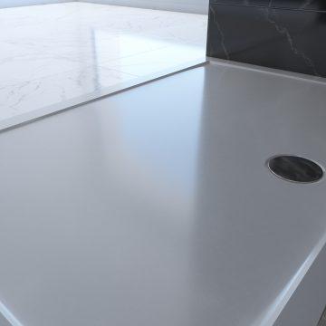 RECEVEUR DE DOUCHE A POSER EXTRA-PLAT EN ACRYLIQUE BLANC RECTANGLE - 100x80cm - BAC DE DOUCHE
