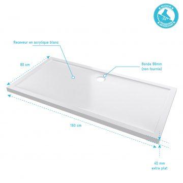 RECEVEUR DE DOUCHE A POSER EXTRA-PLAT EN ACRYLIQUE BLANC RECTANGLE - 160x80cm - BAC DE DOUCHE