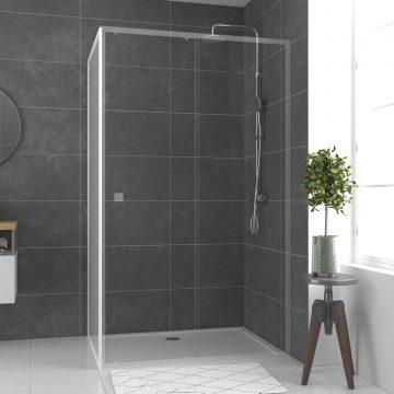 Paroi porte de douche blanc RETOUR 80x185cm pour porte - verre transparent 5mm - WHITY SIDE 80