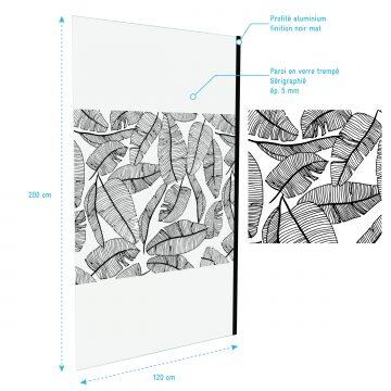 Paroi de douche 120x195cm serigraphie type jungle - verre 5mm + bras de fixation redecoupable