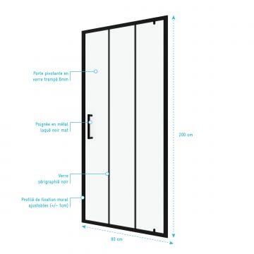 Paroi porte de douche pivotante type industriel - 80x200cm -  PROFILE NOIR MAT - verre 6mm