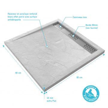 Receveur extra plat a poser 80X80 cm caniveau - acrylique renforce blanc - anti-derapant - MOON SQUARE LINEAR 80