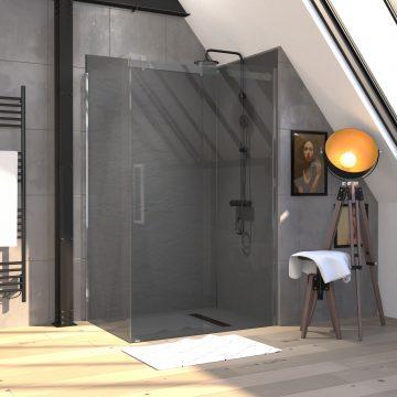 Paroi de douche a l'italienne - 80x200 VERRE TRANSPARENT 8mm + profilé de fixation mural ajustable