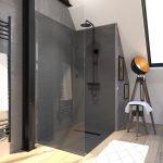 Porte de douche fixe - ROLLING CHROMED SIDE 90 / RETOUR 90