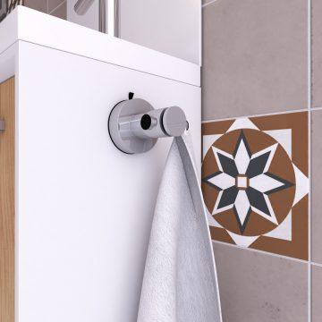 Patere 1 tete pour salle de bains - support serviette - sans clou ni vis via syteme vide d'air
