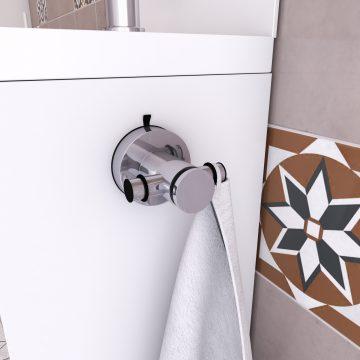 Patere 2 tetes pour salle de bains - support serviette  - sans clou ni vis via syteme vide d'air