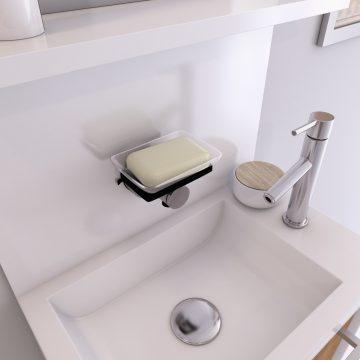 Porte savon pour salle de bains à ventouse - sans clou ni vis via sytème vide d'air - SILVER FLAT