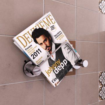 Porte magazine a ventouse pour salle de bains-support magazine-sans clou ni vis syteme vide d'air