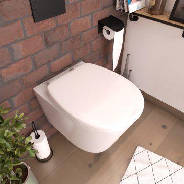 Abattant pour WC blanc - en plastique et charnières en plastique - SIMPLE WHITE