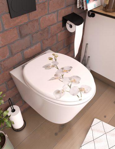 Abattant pour WC à motif sur 3 faces - en MDF et charnières en métal réglables - ORCHID