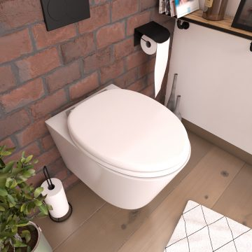 Abattant pour WC blanc - en MDF avec charnières métal réglables - MOON