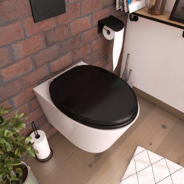 Abattant pour WC Noir - en MDF et charnières en métal réglable - SIMPLE DARK