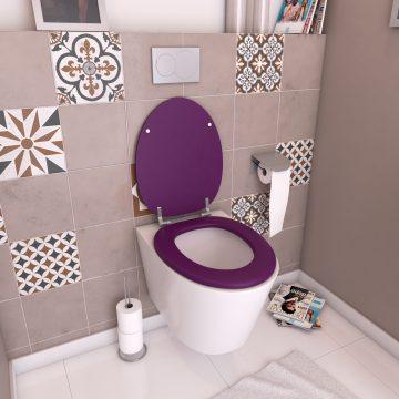 Abattant WC - en MDF avec charnières en métal réglables - WHISY PURPLE