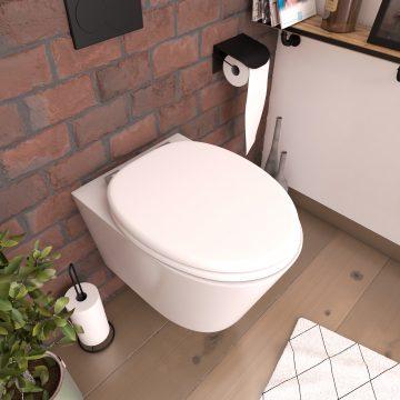 Abattant pour WC BLANC MAT - en MDF et charnières en métal - WHITE MAT