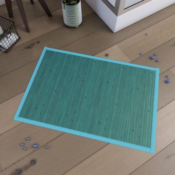 Tapis de bain 80x50cm Antidérapant et 100% Bambou - CAYENNE BLEU